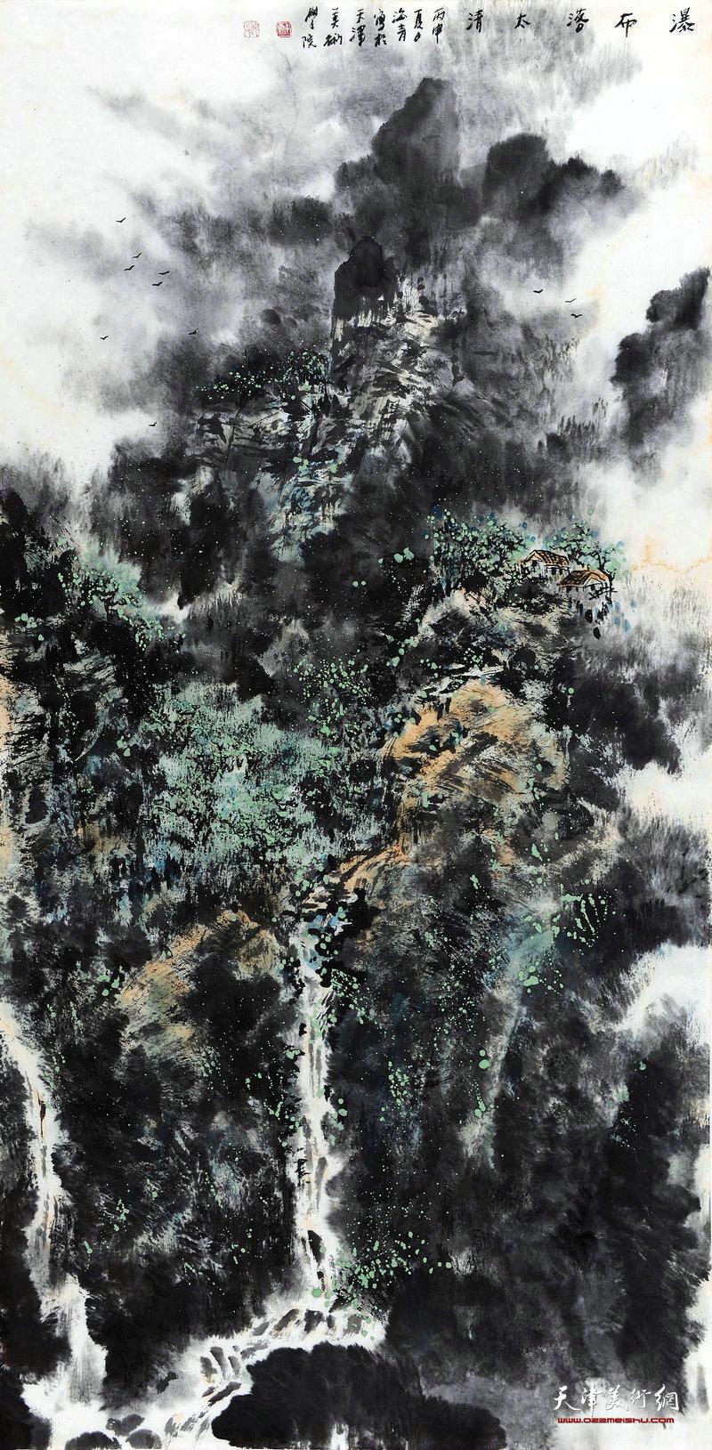 邬海青-瀑布落太清68x138cm