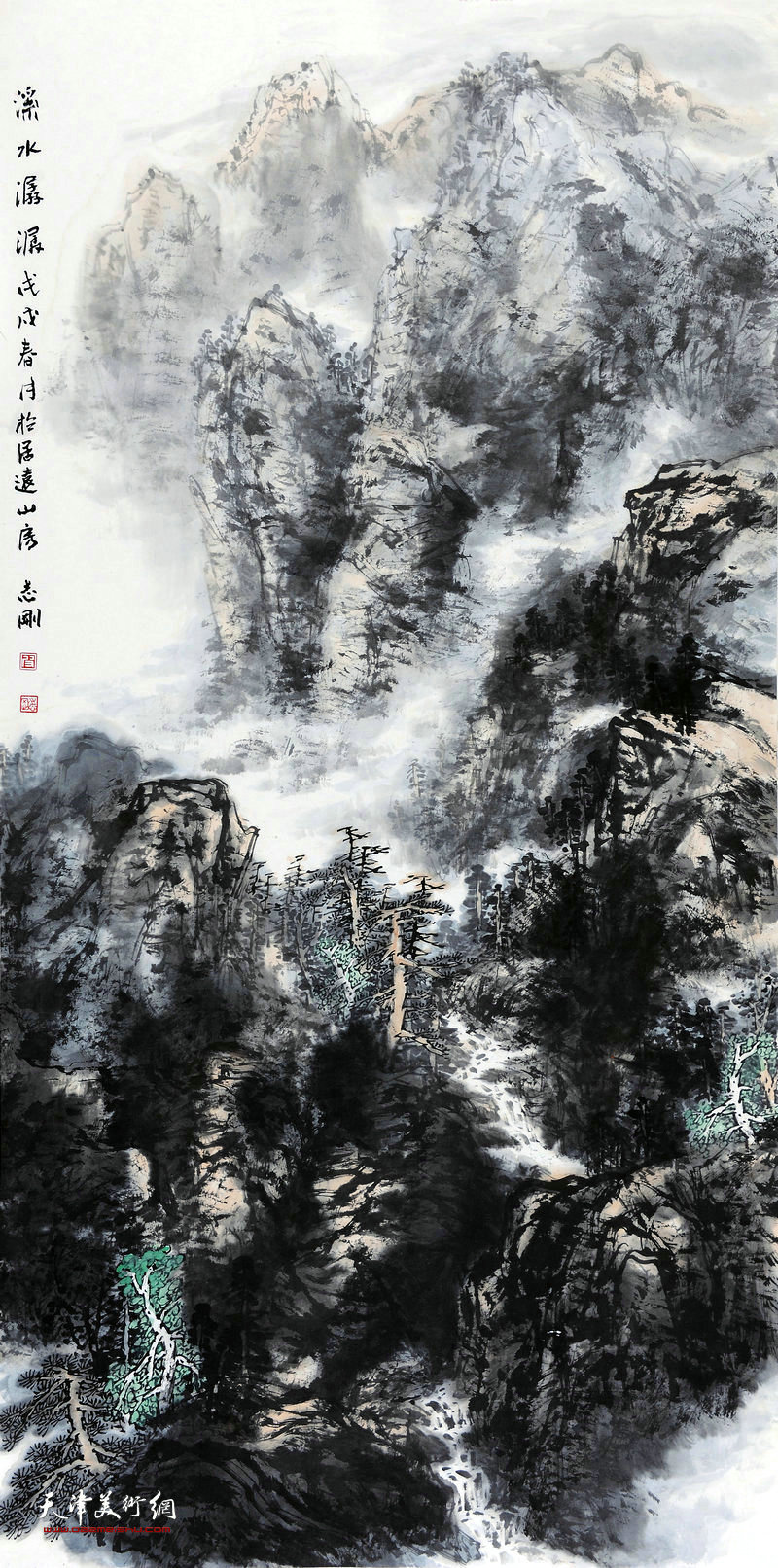 皮志刚-溪水潺潺68x138cm