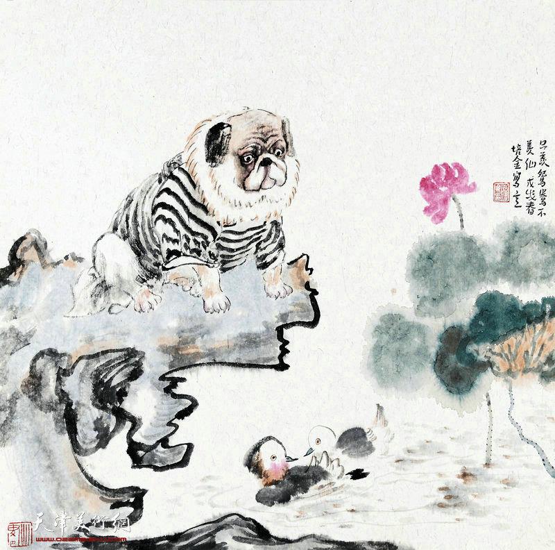 肖培金-只羡鸳鸯不羡仙68X68cm