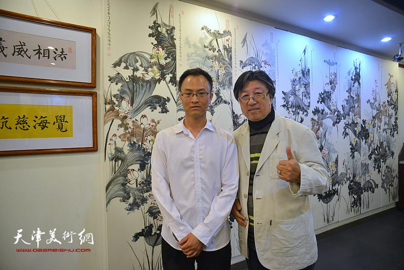 王炯智与吕立在展览现场