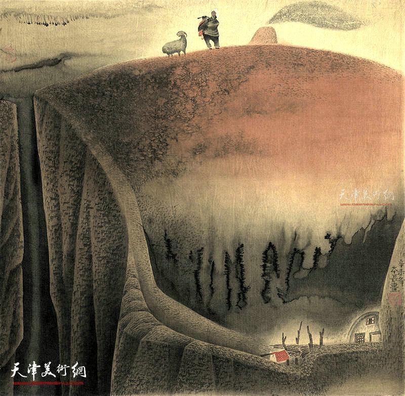 晚炊 绢本 77×77  1990年