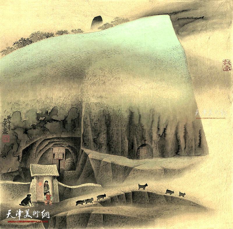 报春 绢本  77×77  1990年