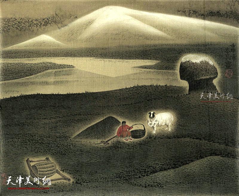 牧童   绢本  57×46     1990年