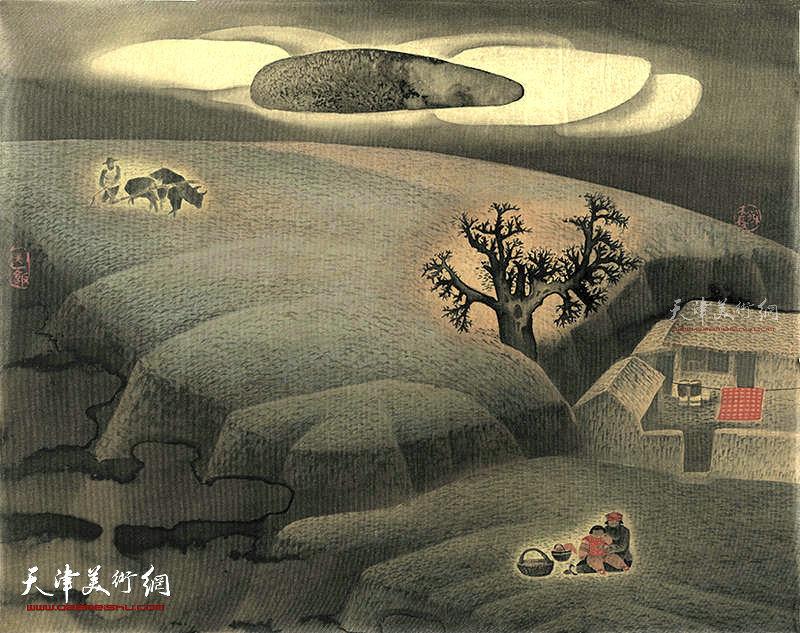 送饭 绢本  57×46   1990年
