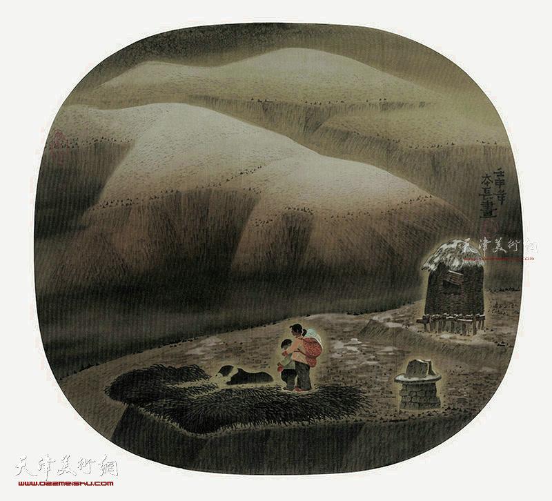 姐弟情  绢本  54×50  1991年