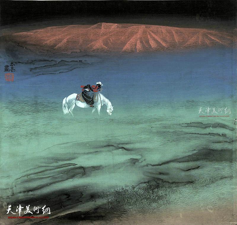 飘动的红霞 绢本  65×65    1995年
