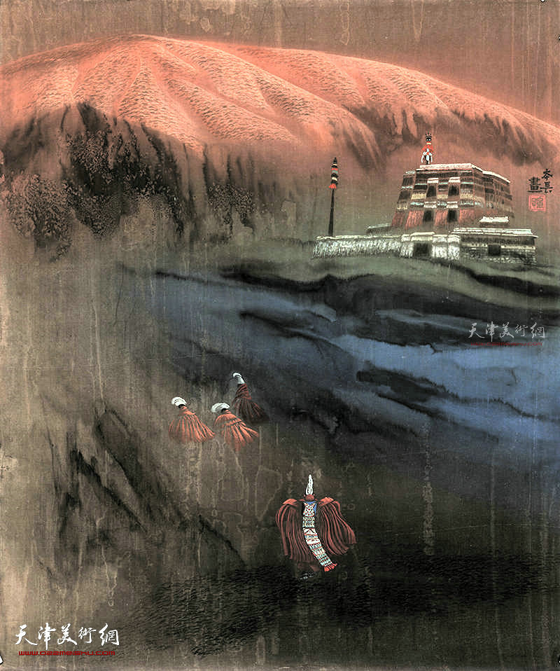 古刹圣火  绢本  68×68    1996年