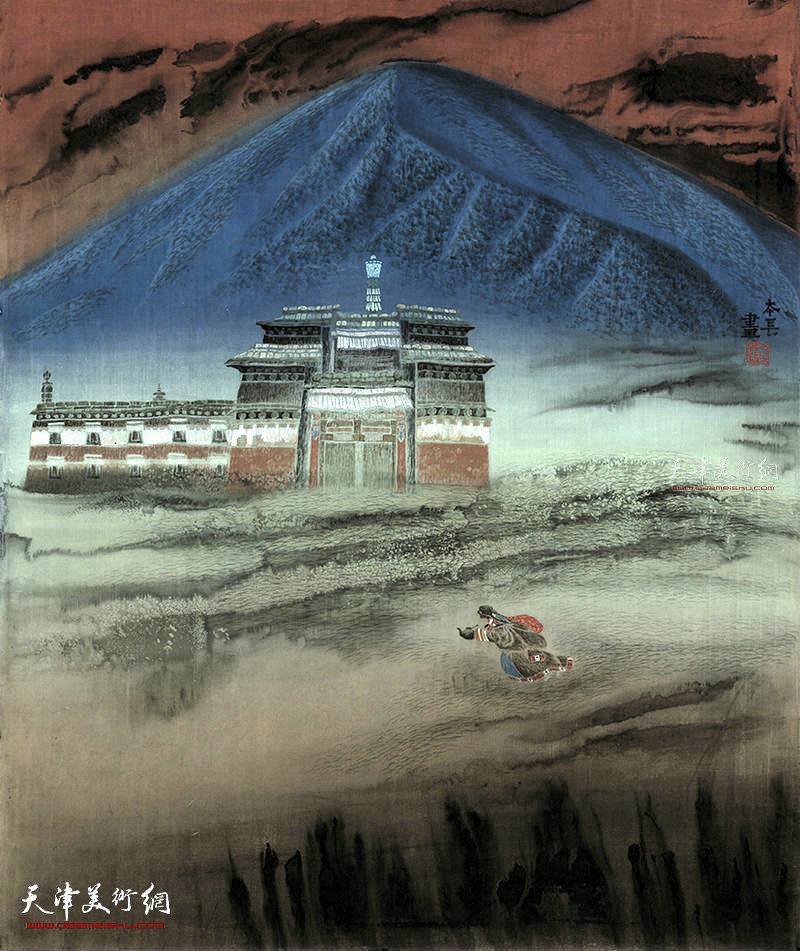 虔诚  绢本  96×81    1996年