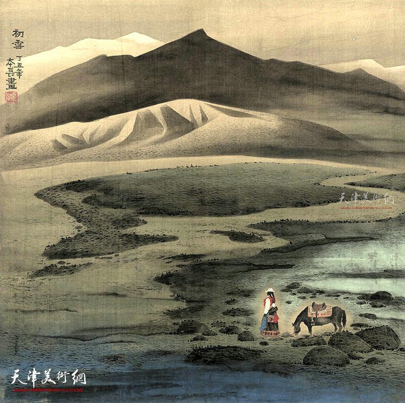 初雪  绢本   80×80    1997年