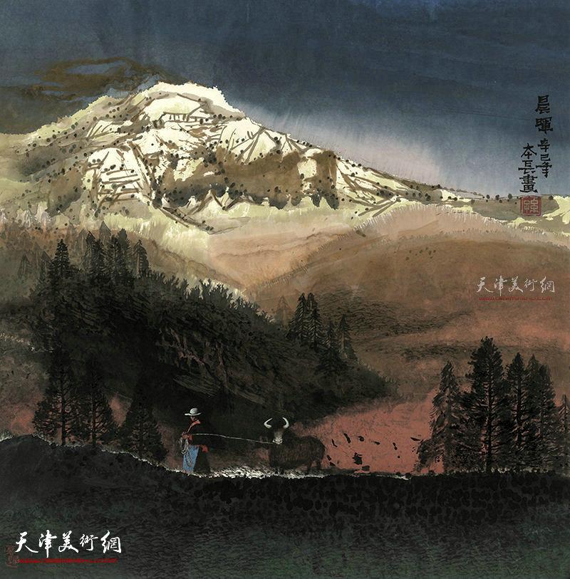 晨晖  纸本  68X68   2001年