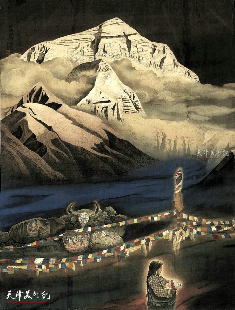 珠穆朗玛  绢本  175×135  2002年