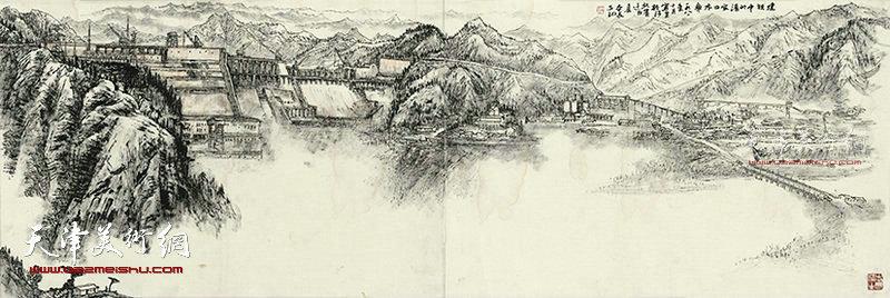 建设中的潘家口水库 纸本 180×68   1981年