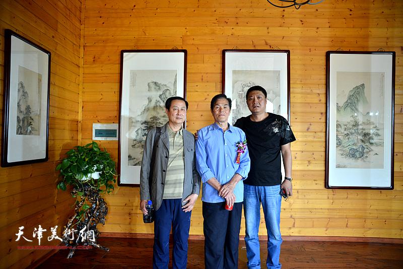 左起:赵达仁、谢玉玺、孙学武在缪文杰书画艺术品鉴活动现场。