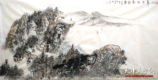 主攻山水画,在学中掌握了纯水墨山水画技法,大青绿,金碧重彩和蕉墨