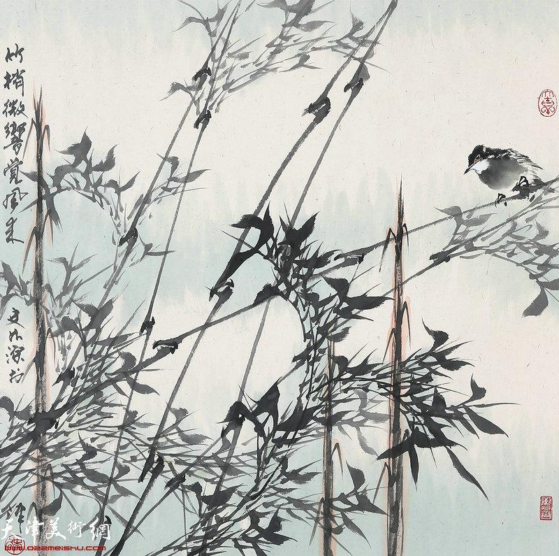 史如源作品:竹梢微响觉风来