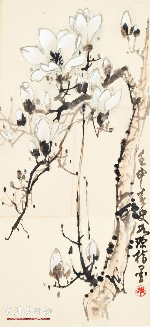 史如源指画作品:白玉兰  70cm x 34cm