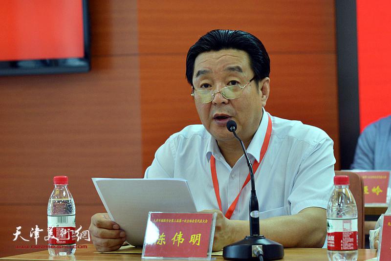 中国楹联学会会长助理、天津市楹联学会会长陈伟明讲话。