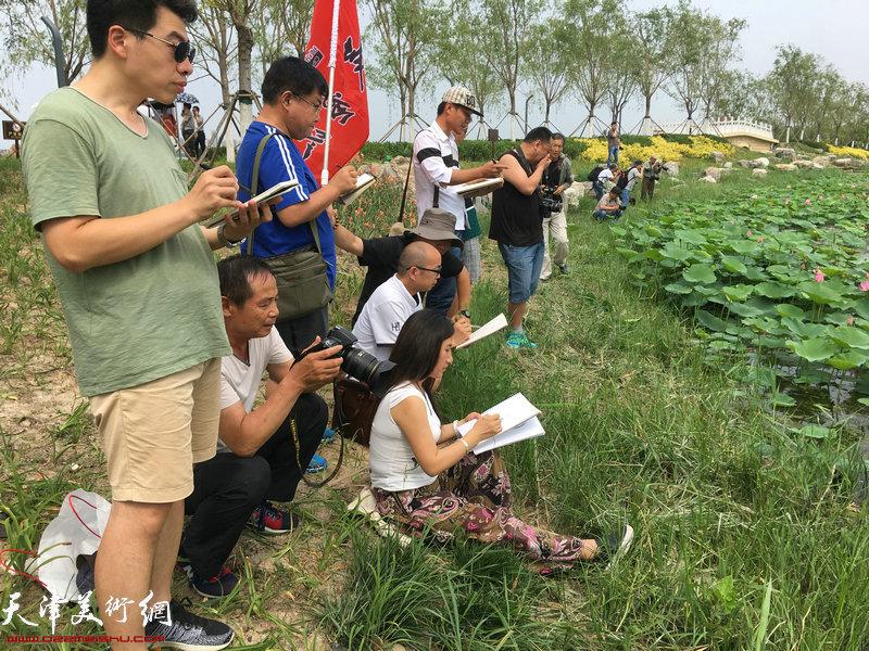 天津城市画派走进东丽采风活动在东丽湖自然艺苑区写生