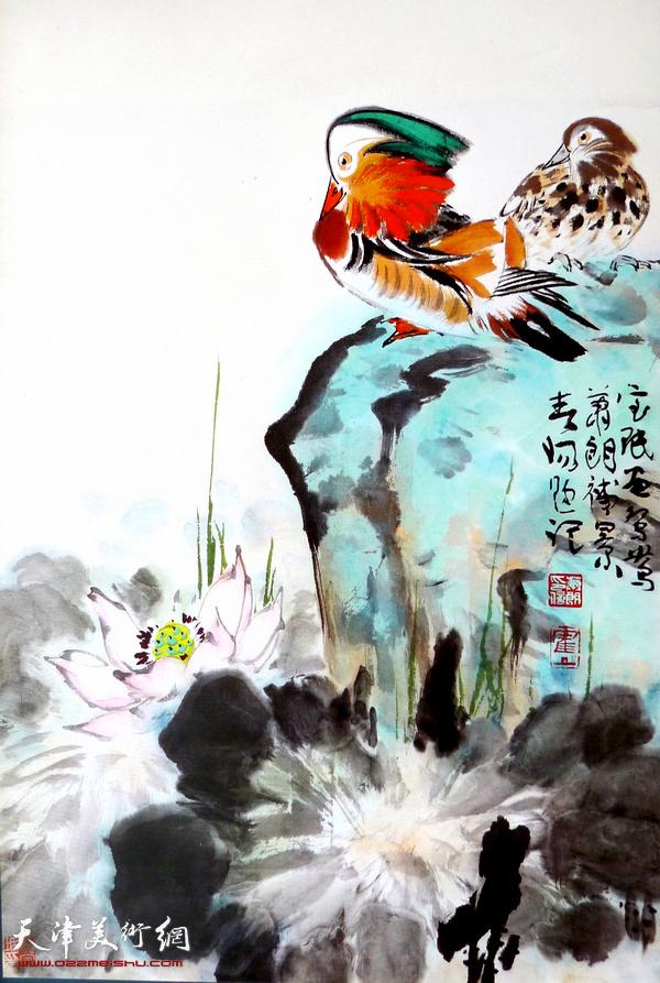萧朗、霍春阳、贾宝珉《荷花鸳鸯》 设色纸本立轴 69×45cm