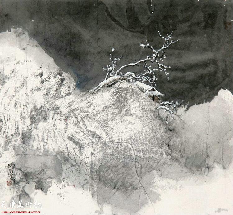 《雪夜梅花书屋》 33×33cm