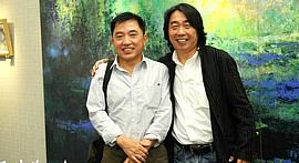 """""""郝跃先现代绘画系列作品展""""在天津图书馆举行"""