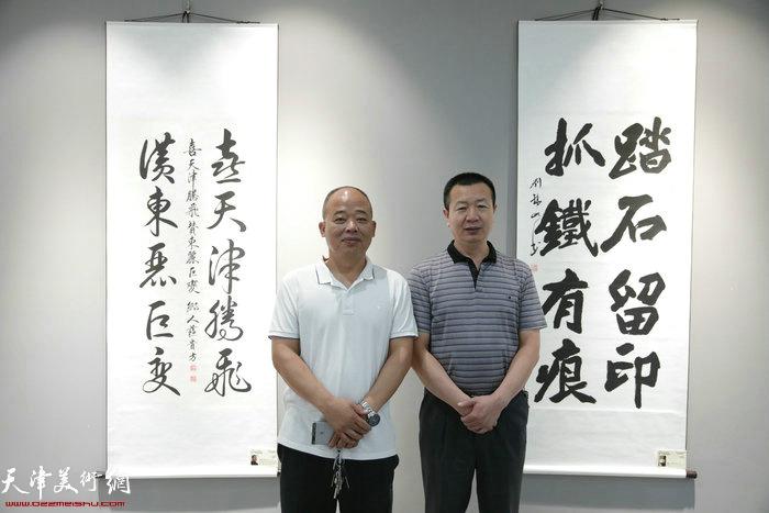 李庆海、刘锦山在画展现场