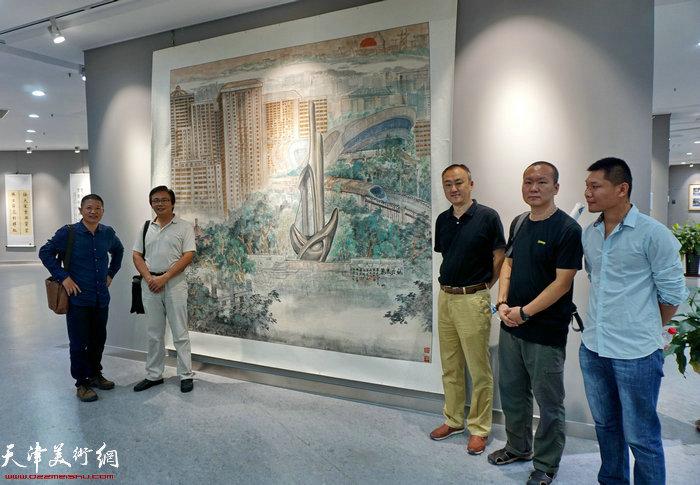 魏瑞江、刘波、柴博森、何成、郑伟在作品展现场