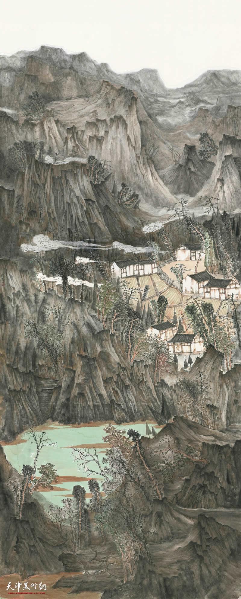 63 张晓琎 燕山新居图 300cm×120cm