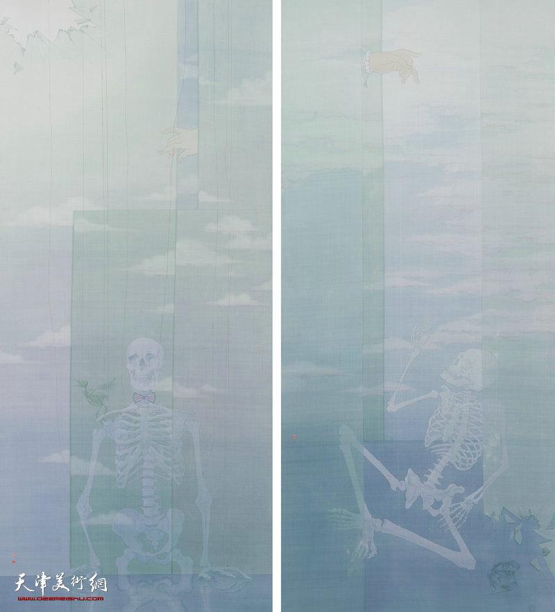 皮理文 天津 幻戏新图 157cm×71cm×2