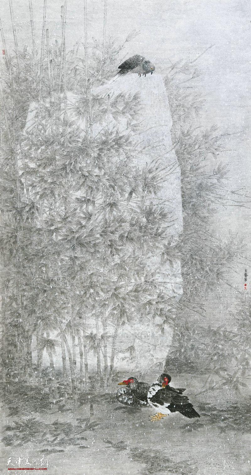 王鑫 辽宁 雪落无声 226cm×119cm