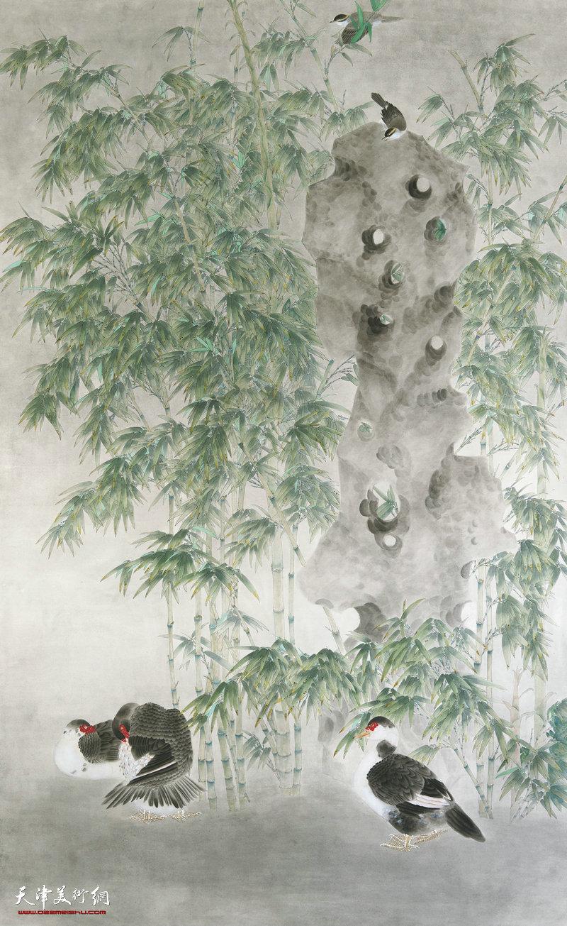 徐兰舸 天津 幽篁集禽图 210cm×140cm
