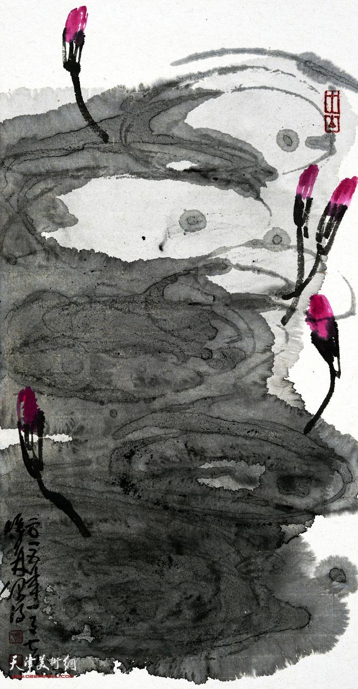 刘曦林作品:睡莲初醒  65厘米×33.8厘米  2015年