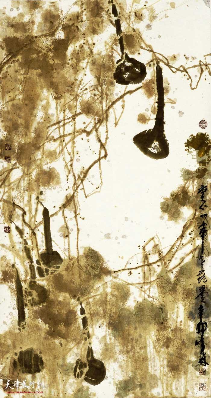 刘曦林作品:秋实系列之二  绿葫芦  纸本水墨设色  177厘米×96厘米  2011年