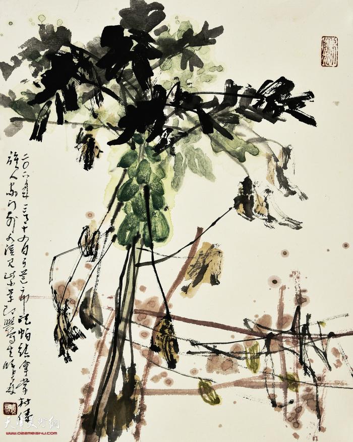 刘曦林作品:南国村头木瓜  42厘米×33.5厘米  2019年