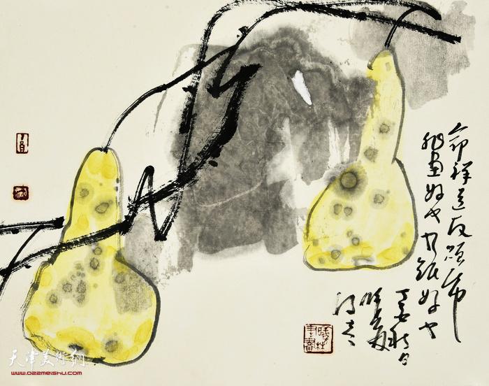 刘曦林作品:秋葫芦  33.5厘米×42厘米  2017年