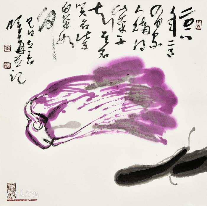刘曦林作品:紫白菜  39厘米×39厘米  2018年