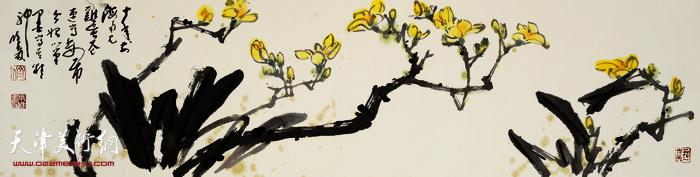 刘曦林作品:鸡蛋花  34厘米×136厘米  2016年