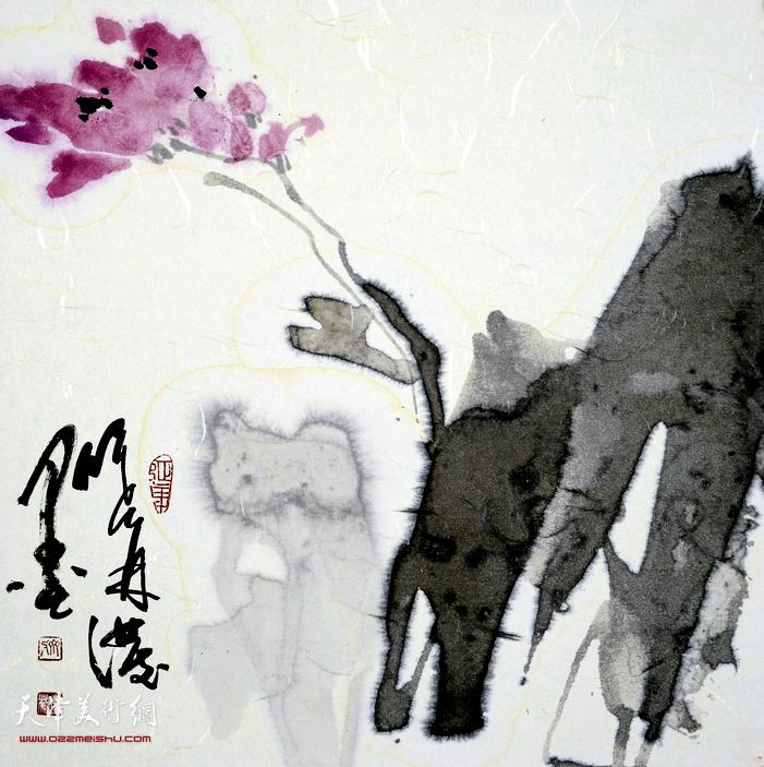 刘曦林作品:泼墨花之一  39厘米×39厘米  2015年