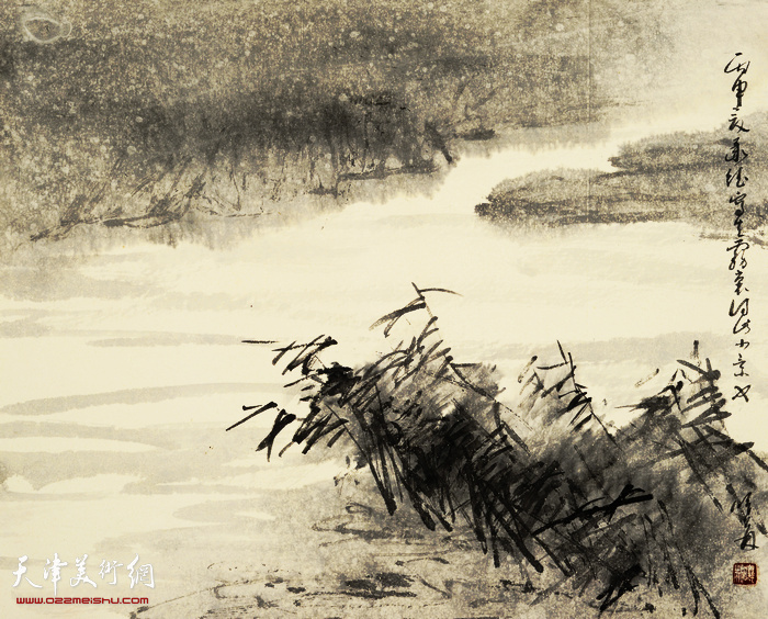 刘曦林作品:承德雾溪  33.6厘米×41.7厘米  2016年