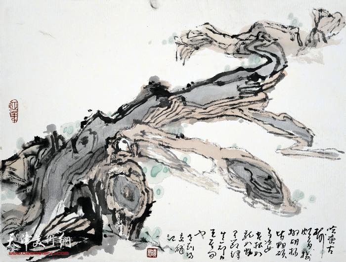 刘曦林作品:哈密胡杨根  33厘米×41.8厘米  2016年