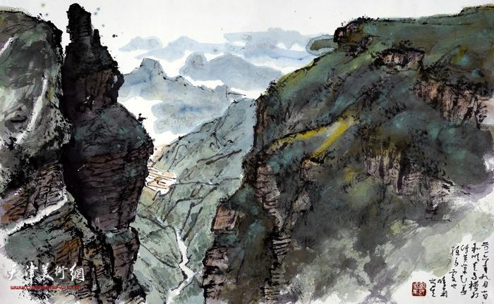 刘曦林作品:太行之四·和顺走马槽  41.6厘米×67.2厘米  2016年