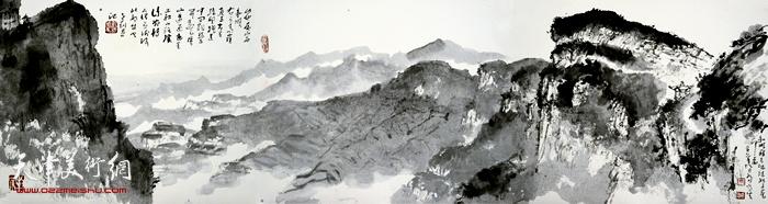 刘曦林作品:太行之五·和顺姑子崖  33.6厘米×125.1厘米  2016年
