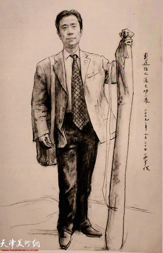 中央美术学院教授王少伦为宣传奥运走遍中国第一人张大功绘制肖像《奥运狂人张大功》