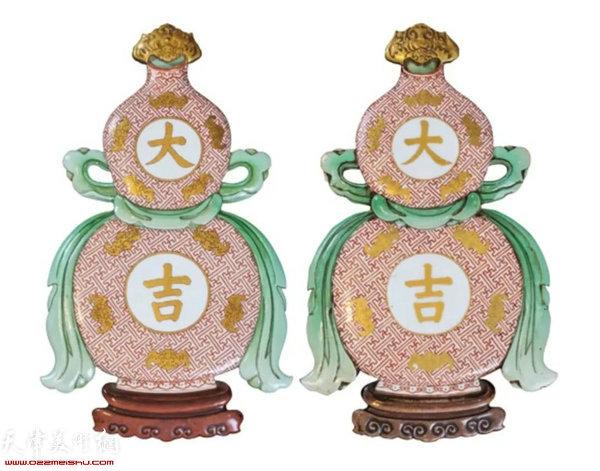 清乾隆 粉彩描金大吉葫芦壁瓶