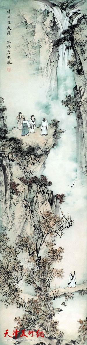 谢玉玺《远泉生天籁 孤鸿度秋风》