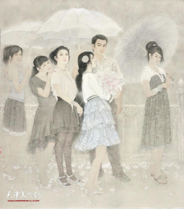 于栋华作品:《花季·雨季》 2011年 176x192cm 纸本