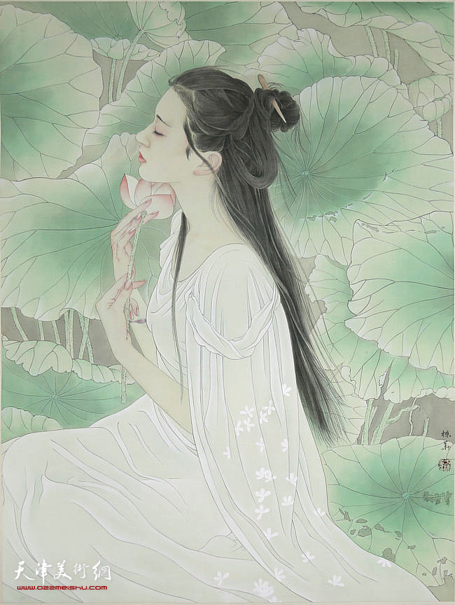 于栋华作品:《花间梦》(二) 2017年 70x90cm 日本绢