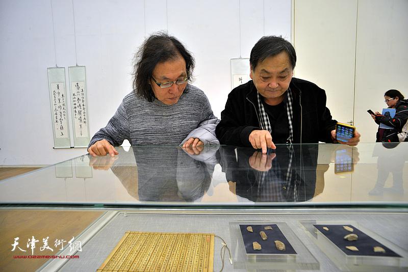 王秀琪、陈栋琨在展览现场观看展出的甲骨文实物。