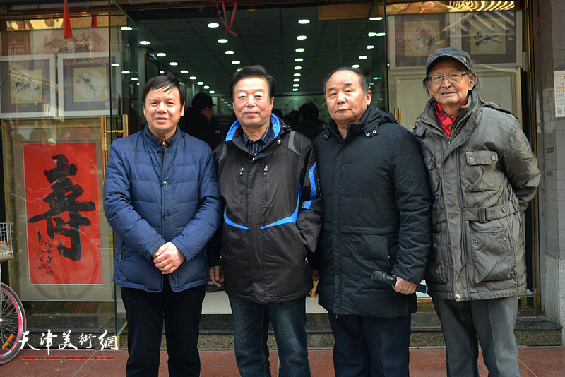 左起:李根友、杨建国、李建华、房师武在鹤艺轩。