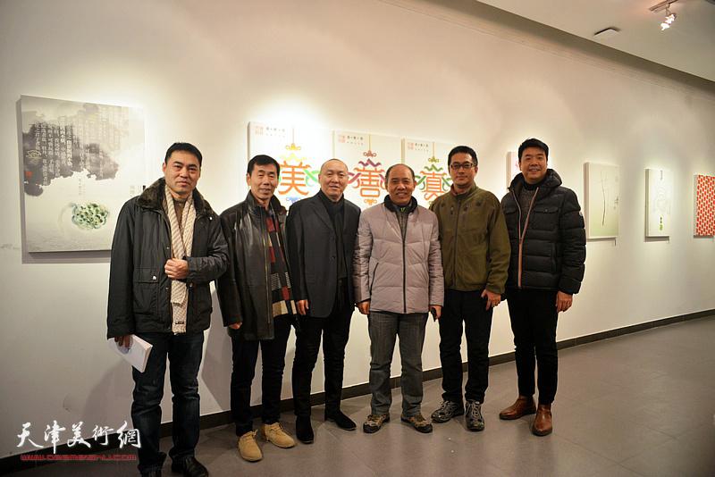 左起:高山、兰玉琪、薛明、魏长增、陈志莹、王中谋在展览现场。